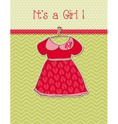 baby girl arrival card with place for your text vector image