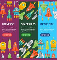 cartoon space ship or rocket banner vecrtical set vector image vector image