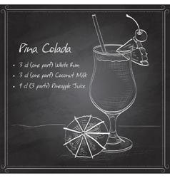 Cocktail Pina colada on black board vector image
