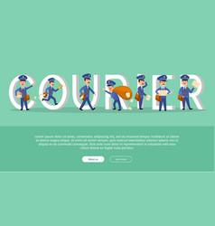 courier conceptual web banner with cartoon postman vector image vector image