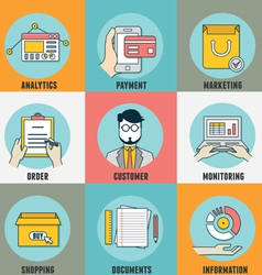Icons for mobile marketing email marketing vector image vector image