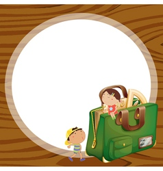 kids and school bag vector image