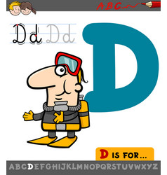 Letter d with cartoon diver vector