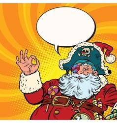 Santa Claus pirate OK gesture vector image vector image