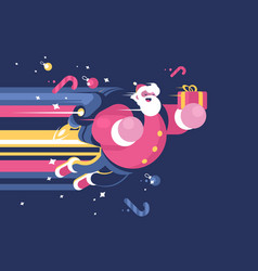 santa claus with bag of gifts flying vector image