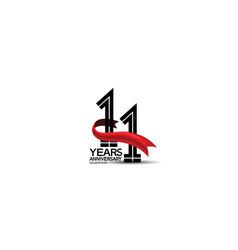 11 years anniversary logotype flat black color vector