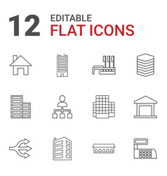 12 structure icons vector image