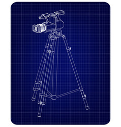 3d model tripod and camcorder on a blue vector image