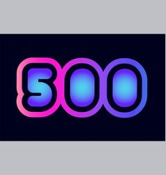 500 pink blue gradient number logo icon design vector