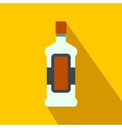 A bottle of alcohol and a glass flat icon vector