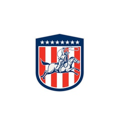 American Rodeo Cowboy Horse Lasso Shield Retro vector