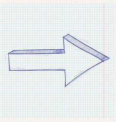 Arrow sketch next sign blue hand drawn doodle vector