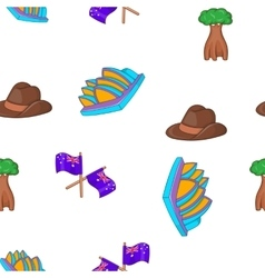 Australia tourism pattern cartoon style vector