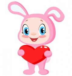 babunny holding a heart vector image