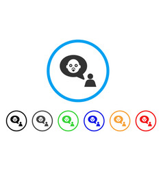 Baby thinking person rounded icon vector