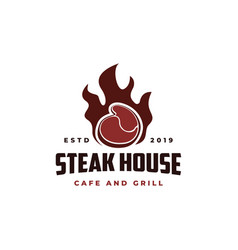 Beef meat on fire vintage retro cafe bar logo vector