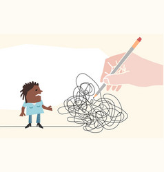 big hand with pencil drawing a tangled path vector image