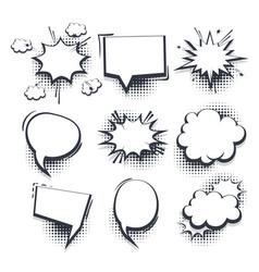 big set hand drawn effects comic speech bubbles vector image