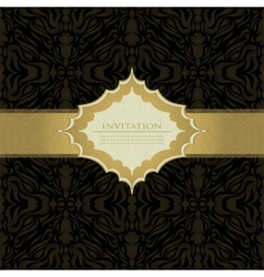 Black beautiful vintage swirl abstract gold card vector