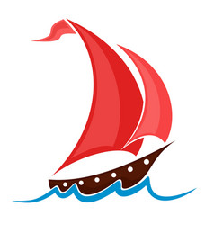 Boat with red sails vector