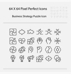 business strategy related puzzle line vector image