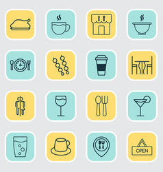 cafe icons set with glass espresso restaurant vector image