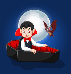 cartoon happy vampire in his coffin vector image