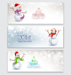 Christmas banners with snowmen vector