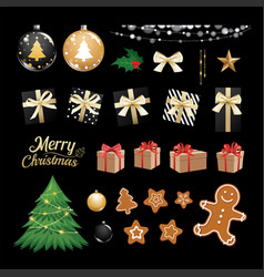 Christmas objects collection set gifts and vector