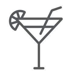 Cocktail line icon beverage and drink alcohol vector