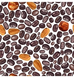 coffee and nuts pattern on a vector image