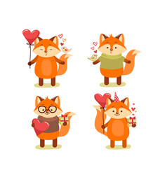 collection cute cartoon lovely red fox vector image