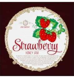 Colorful vintage Strawberry label poster vector