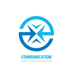 communiction business logo design abstract arrows vector image