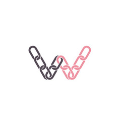 connection link letter w chain logo vector image