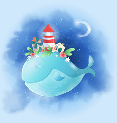 cute cartoon whale in sky with a city on its vector image