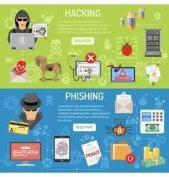 Cyber Crime hacking and phishing Banners vector