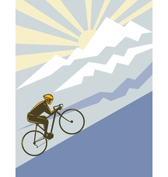 cyclist riding bicycle up mountain vector image