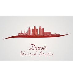 Detroit skyline in red vector image