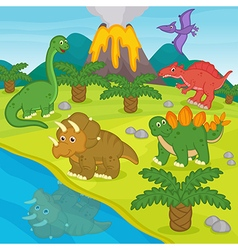 Dinosaurs and prehistoric landscape vector