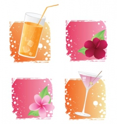drinks and flowers vector image vector image
