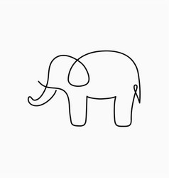 elephant one line drawing vector image