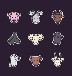 farm animals icons flat style with outline vector image
