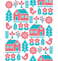 finnish inspired folk art seamless pattern vector image vector image