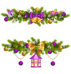 fir decoration with purple decorations vector image