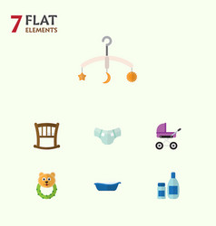 flat child set of cream with lotion nappy vector image