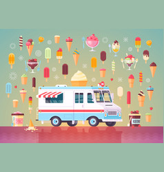 Flat ice cream icons and ice cream truck vector