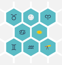 Flat icons bull space lunar and other vector