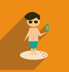 Flat web icon with long shadow man ice cream vector
