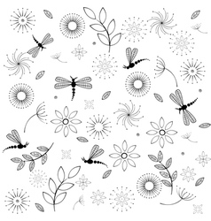 Flowers and dragonflies vector